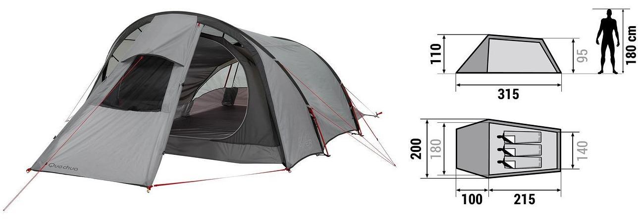 tente quechua 41 tente de camping seconds personnes bleu. Black Bedroom Furniture Sets. Home Design Ideas