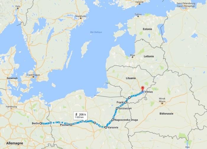 Carte du parcours Berlin - Vilnius à vélo