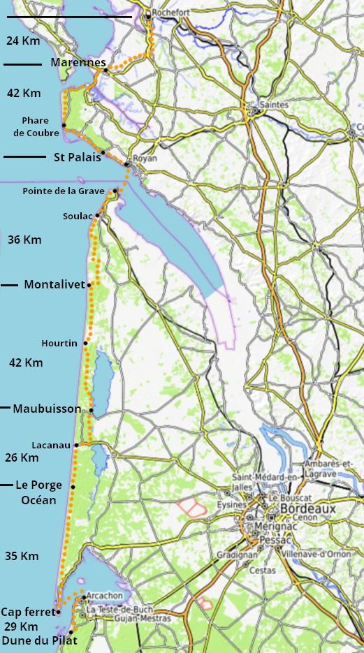 Vélodyssée - Itinéraire -Rochefort Arcachon