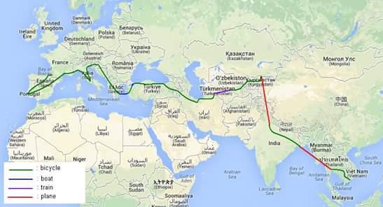 itineraire voyage velo adrien