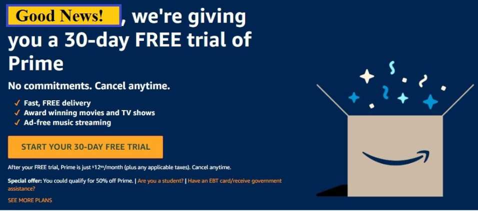 Amazon Prime Free Trial 30 Days
