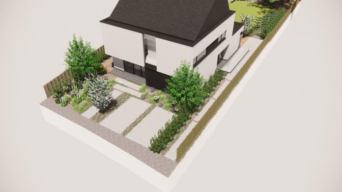 Betonvlakken worden afgewisseld met lage plantjes voor een groen beeld