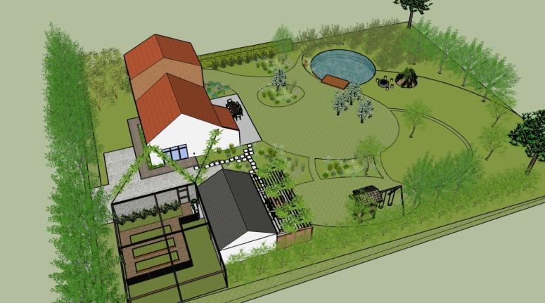 overzicht van een natuurlijke tuin