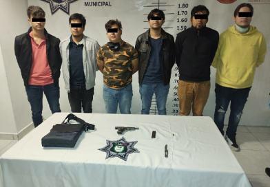 Detienen en San Andrés Cholula a 6 sujetos por portación de arma de fuego
