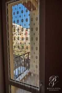 Balcony in Apartment with Stylish Curtains in Studio for Rent in Blagoevgrad Bulgaria 2018