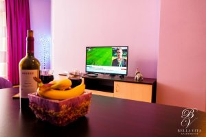 Fully Equipped Short Term Apartment for Rent in Blagoevgrad Bulgaria with Big TV and Table