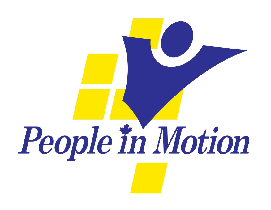 Logo for People in Motion with the words and a blue stick figure man and yellow brick backdrop