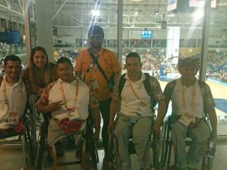 Rayyan with Columbia athletes at Parapan Am Games