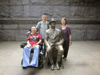 Torrance, Terrence and their mom with FDR statue