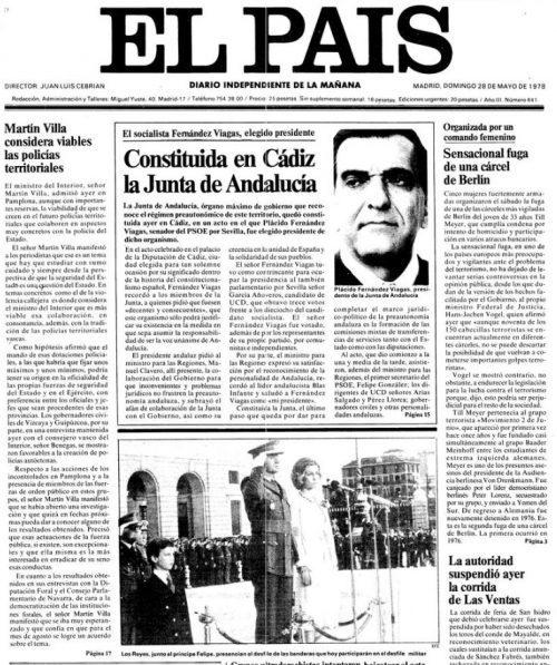 27 de mayo 1978, se constituye la Junta preautonómica de Andalucía