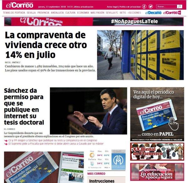 El Correo de Andalucía Comparación de portadas 13/09/2018 Tesis Pedro Sánchez