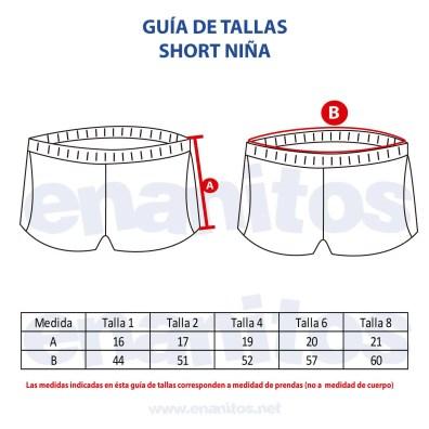 Guía de talla de Short para niñas