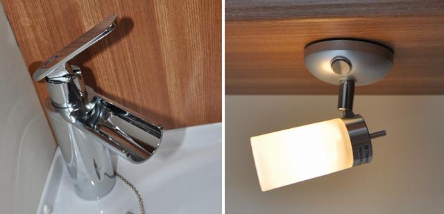 Grifo de diseño en el lavabo / Acertado diseño de las luces de cabecera de la cama trasera