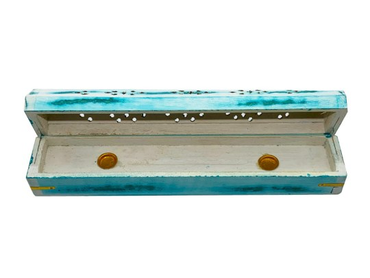 Green Whitewash Wooden Box Incense Burner