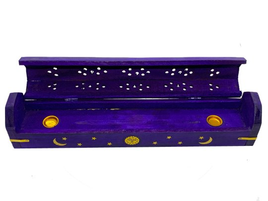 Purple Celestial Wooden Box Incense Burner