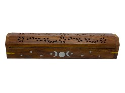 Triple Moon Wooden Box Incense Burner