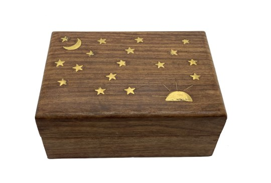 Brass Stars and Moon Inlay Wooden Box