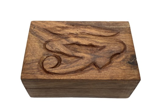 Hand Carved Eye of Horus Wooden Box