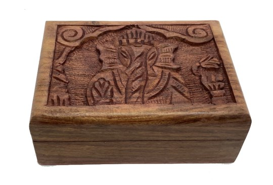 Hand Carved Ganesha Wooden Box