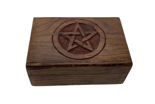 Hand Carved Pentacle Wooden Box
