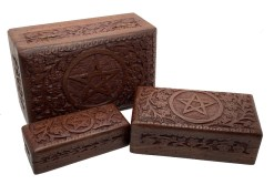 Hand Carved Pentacle Wooden Box Set