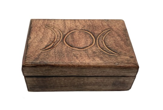 Hand Carved Triple Moon Wooden Box