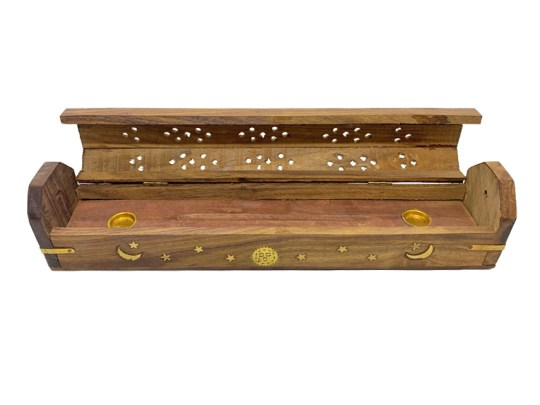 Brown Celestial Wooden Box Incense Burner