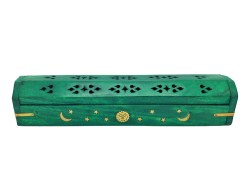 Green Celestial Wooden Box Incense Burner