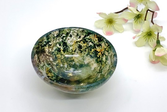 Moss Agate Offering Bowl