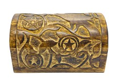 Hand Carved Wooden Raven and Pentagram Box