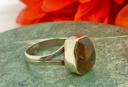 Fire Agate in Sterling Silver Ring Size 9