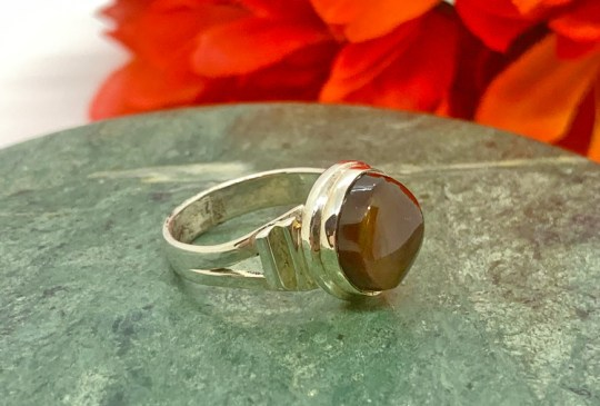 Fire Agate in Sterling Silver Ring Size 7