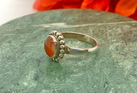 Fire Opal in Sterling Silver Ring Size 9