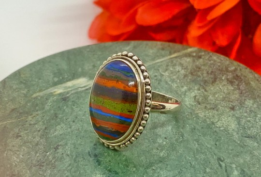 Rainbow Calsilica in Sterling Silver Ring Size 8