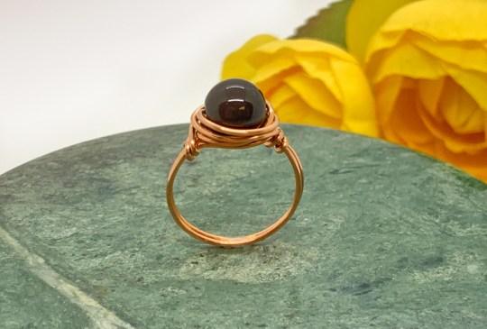 Black Jasper Copper Ring