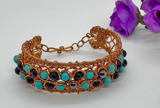 Howlite, Hematite & Black Jasper in Copper Bracelet