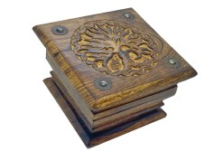 Ornate Tree of Life Carved Wooden Box with Bronsed Brass Rivets