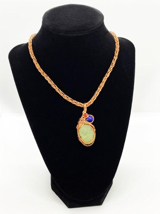 Prehenite, Lapis Lazuli and Swarovski Necklace with Viking Chain