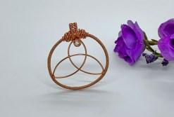 Triquetra with White Sapphire in Copper Pendant