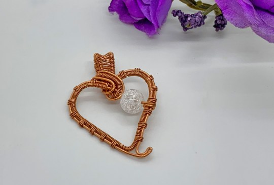 Witches Heart with Crackled Quartz in Copper Pendant