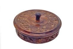 Floral Carved Wooden Bowl