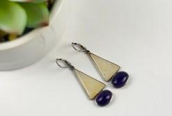 Golden Aventurine & Amethyst in Sterling Silver Earrings