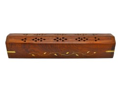 Wooden Incense Burner wit Inlay of Brass Vines