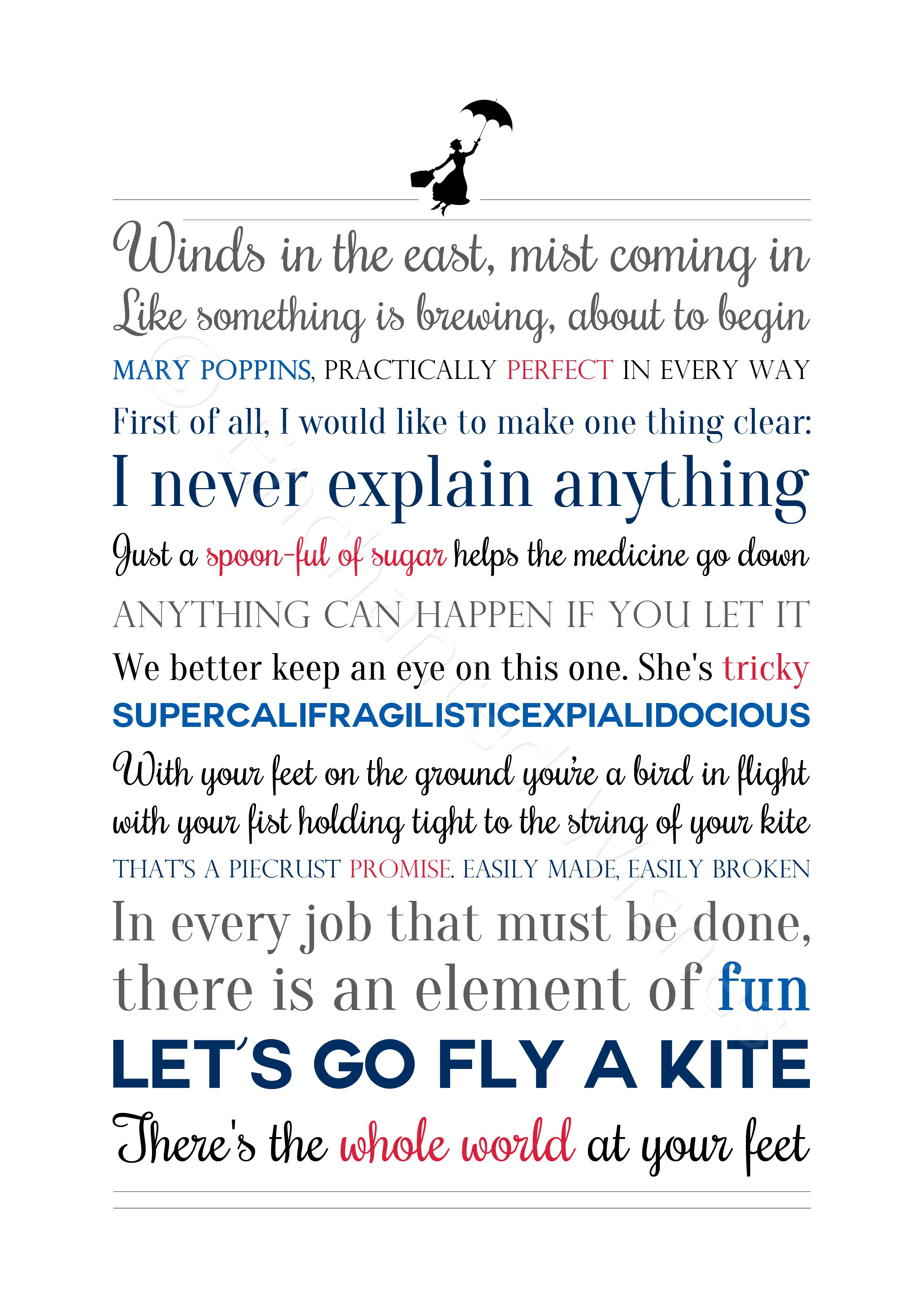 Mary Poppins Musical Quotes Lyrics Print