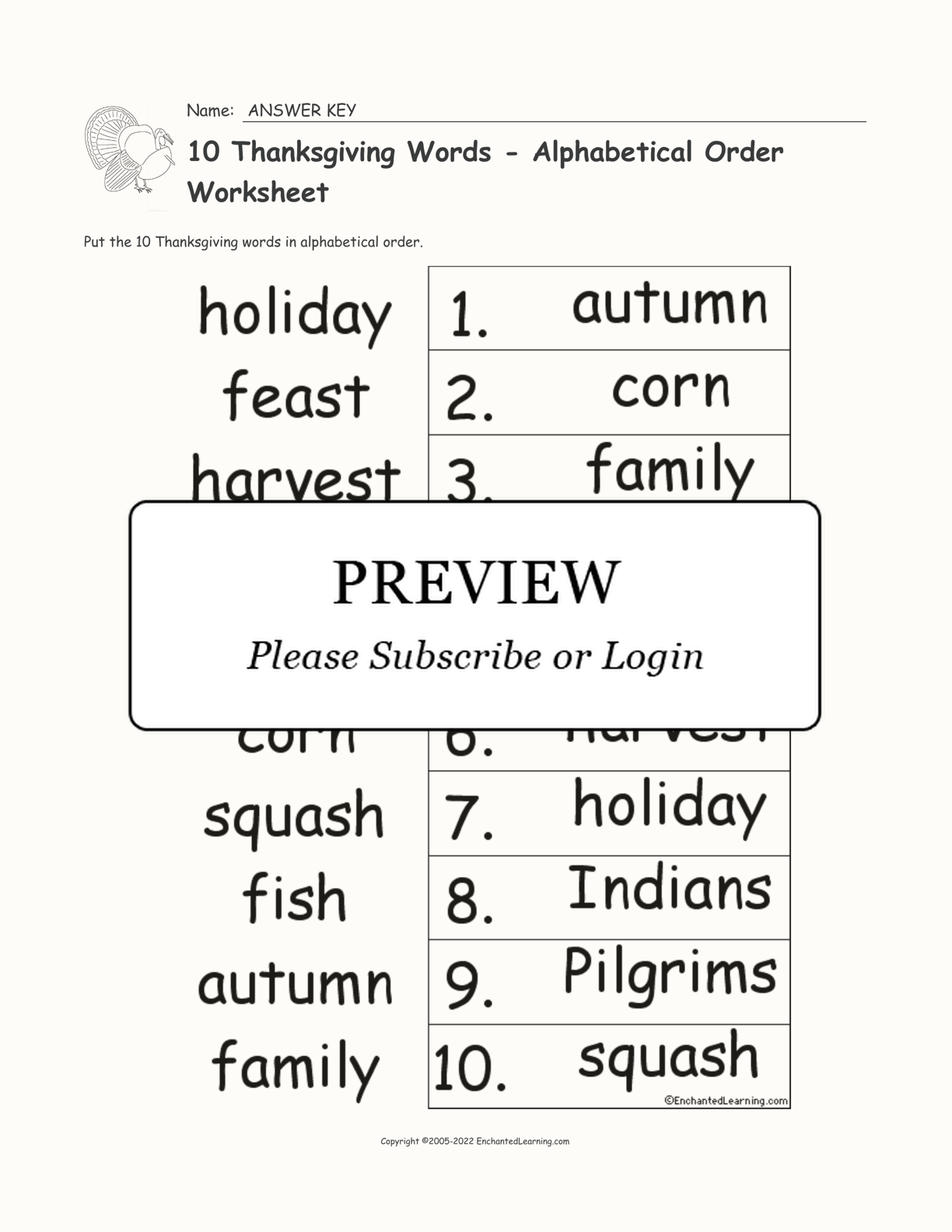 10 Thanksgiving Words
