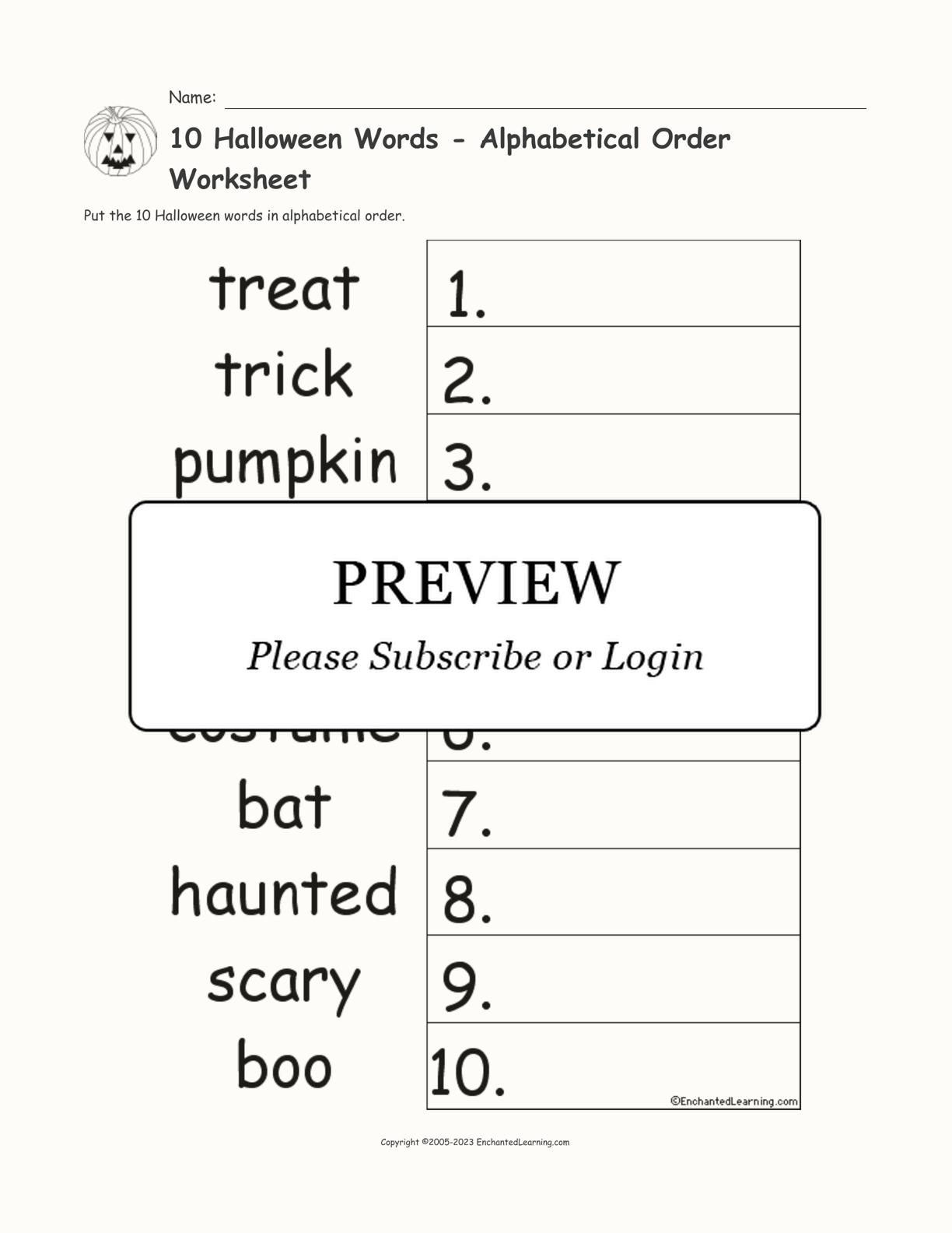10 Halloween Words