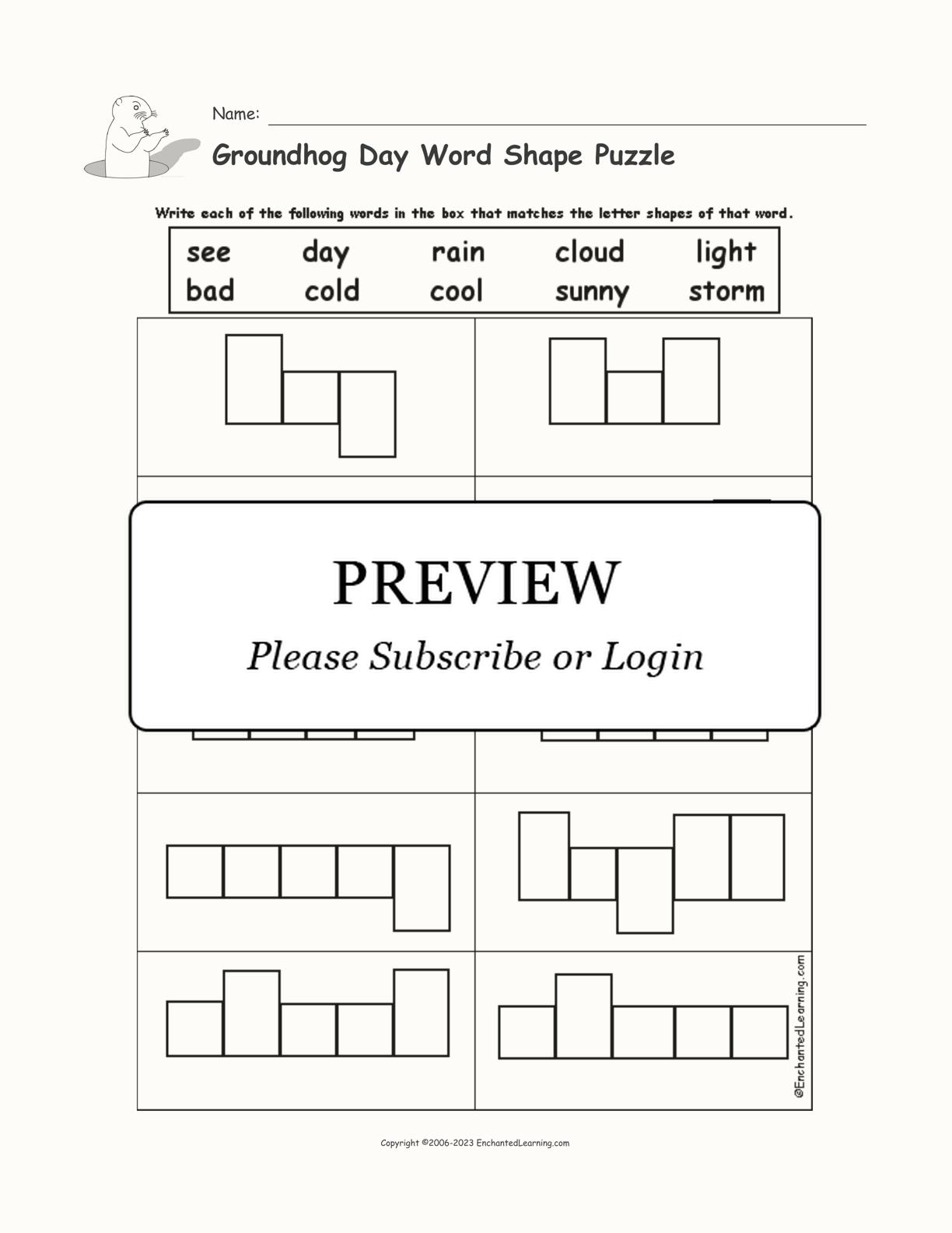 Groundhog Day Word Shape Puzzle
