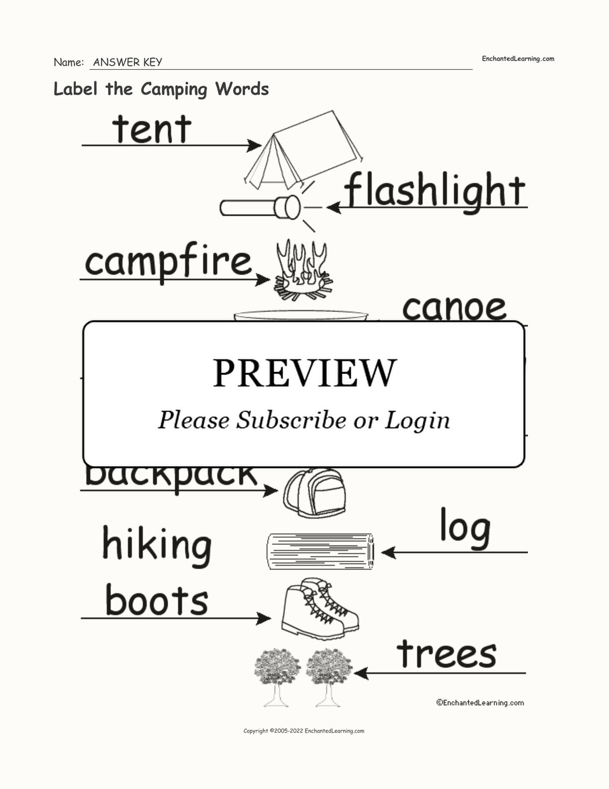 Label The Camping Words