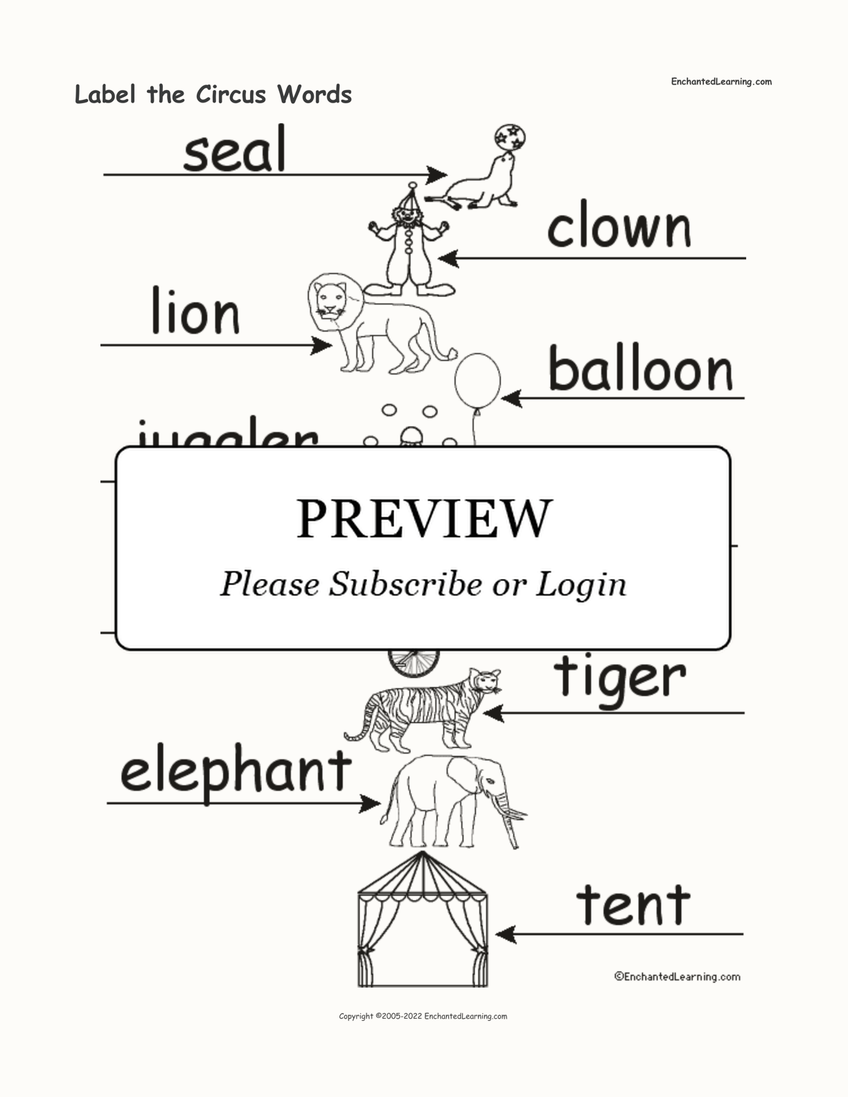 Label The Circus Words