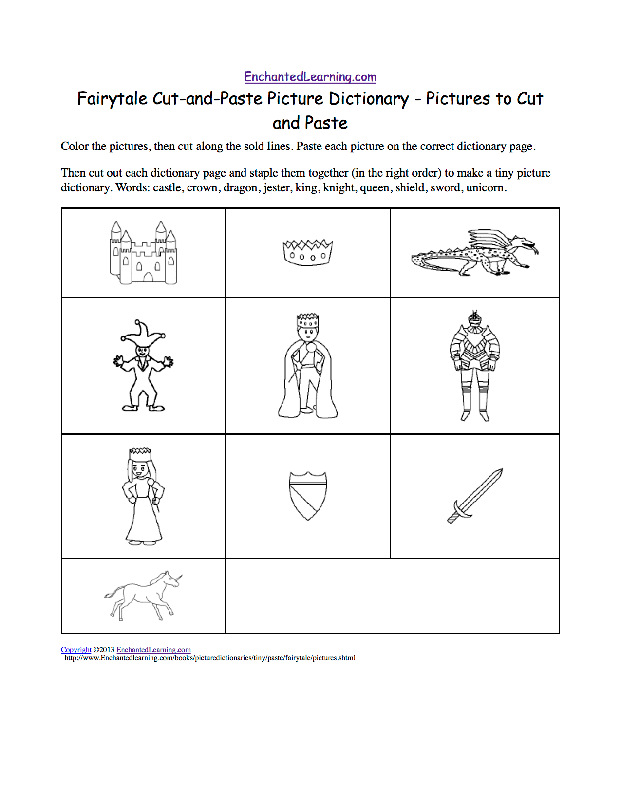 Fairytale Cut And Paste Picture Dictionary
